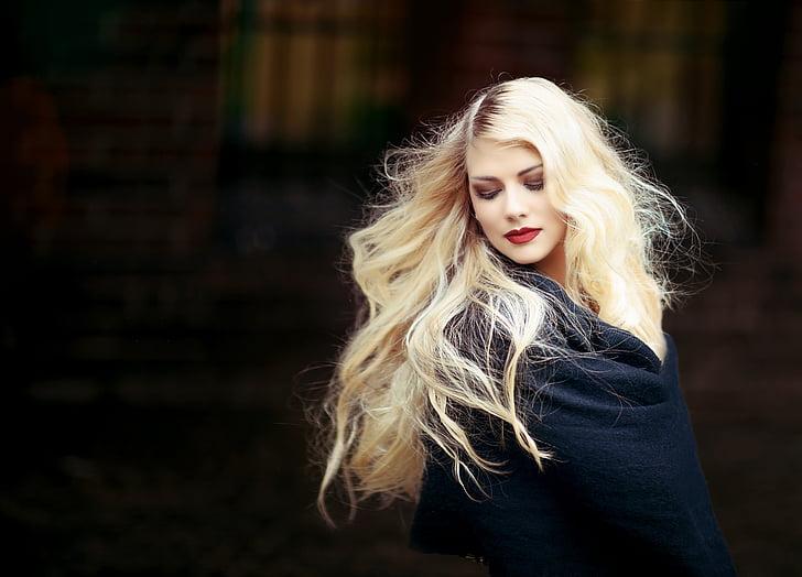 portrets, sieviete, meitene, blond, mati, gariem matiem, blondīne mati