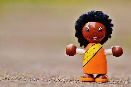figura, fusta, caràcters de joc, holzfigur, Nina, divertit, diversió