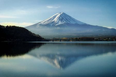 Monte fuji, Japão, montanhas, Marco, céu, nuvens, Lago