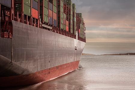 behållare, hamn, logistik, rederiet, Frakt, fartyg, floden