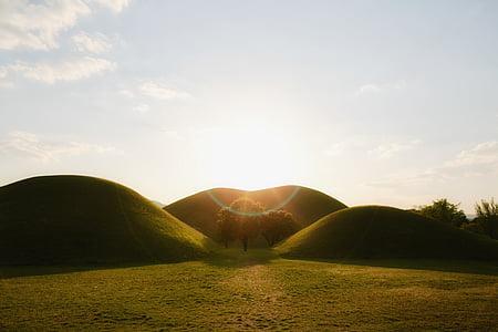 grön, gräs, Mountain, Hill, dalen, landskap, Highland