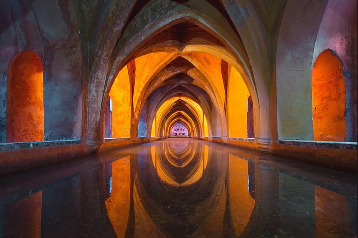 l'aigua, arquitectura, colorit, reflexió, l'església, disseny, color