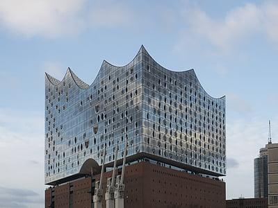 Hamburg, Saksamaa, Elbe philharmonic hall, Landmark, arhitektuur, Elbe, hoone