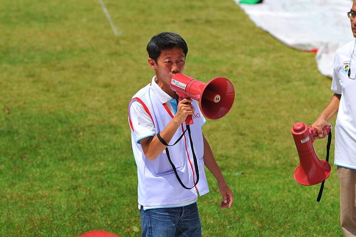 hovoriť, kričať, megafón, Povedzte, povedať, muž, Ázijské