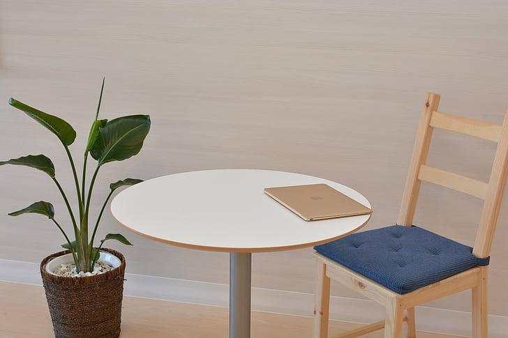 biroja, Mac, MacBook, tabula, krēsls, vienkārša