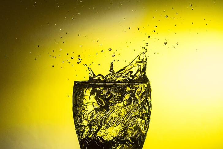 DROPP, vatten, spray, vätska, droppe vatten, hög hastighet, gul