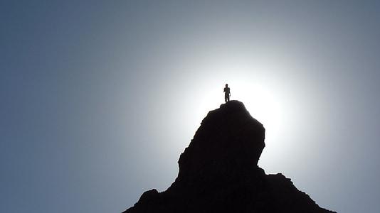 silueta, Excursionista, cim de muntanya, cim de la muntanya, pic, escalador, Walker