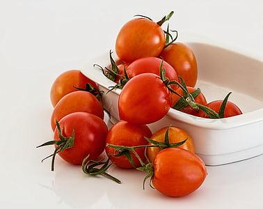 Kom, voedsel, vers, rood, tomaten, groenten, tomaat