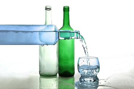 water, waterfles, fles water, drankje, vloeistof, fles, alcohol