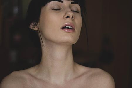 attraktive, schöne, Schönheit, Gesicht, Modell, nackt, sexy