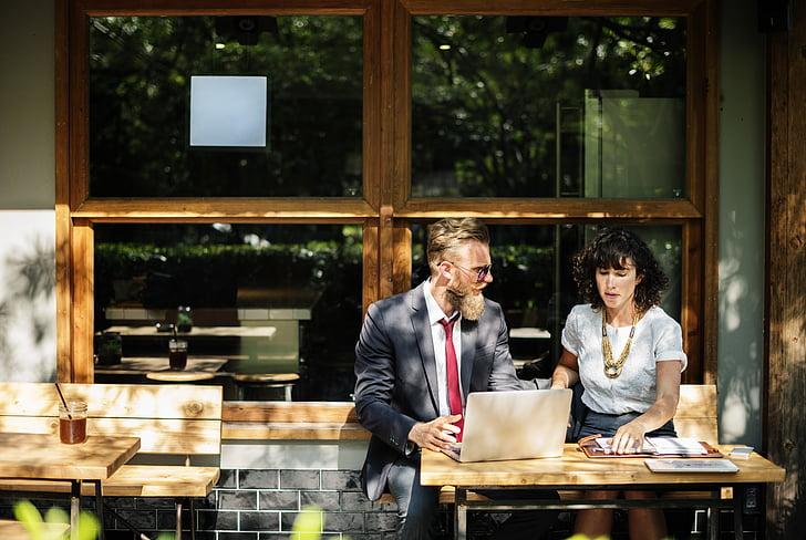 adult, agreement, beard, brainstorming, business, café, chair