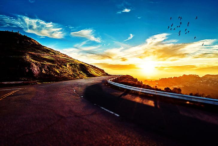 carretera, muntanya, posta de sol, cel, idíl·lic