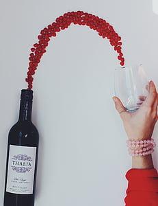 veini, voolav, veini klaasi, pudel, veinipudel, punane, puu