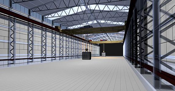 Portal grua, animació, 3D model, tecnologia robòtica, màquina, indústria, renderització