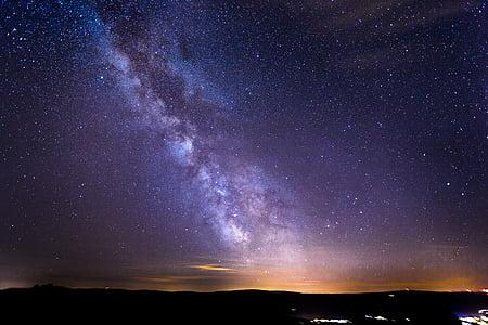 switzerland, gurnigel, long exposure, star, mountains, lights, evening sky