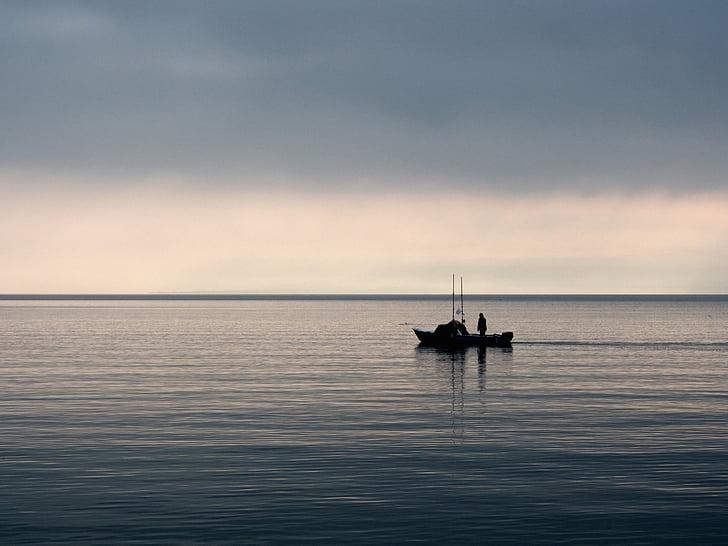 Rybolov, rybár, loďou, ráno, jazero, vody, Sky