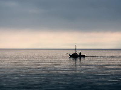 fishing, fisherman, boat, morning, lake, water, sky