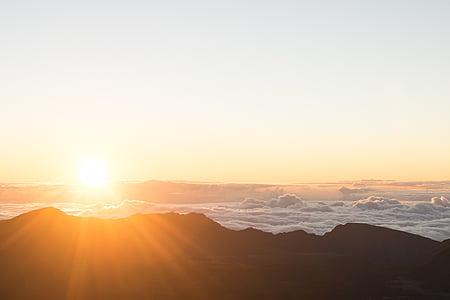 moln, Dawn, skymning, landskap, Mountain, naturen, Utomhus