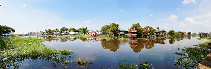 house, rural, countryside, outdoors, water, environment, thai
