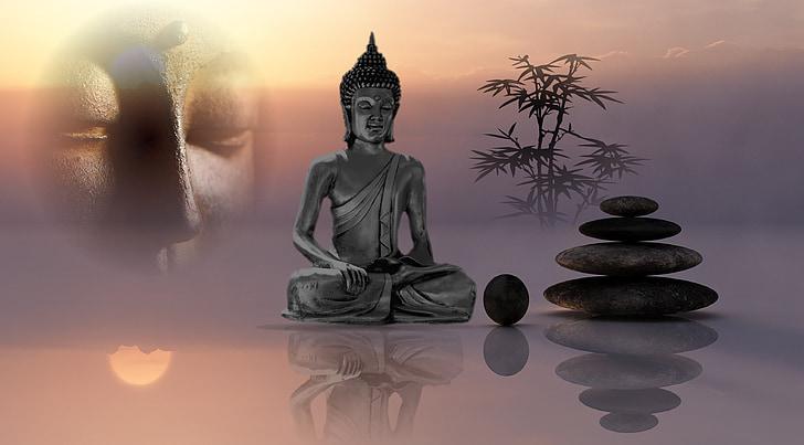Bouddha, Balance, sérénité, bouddhisme, l'Asie, figure Pierre, méditation