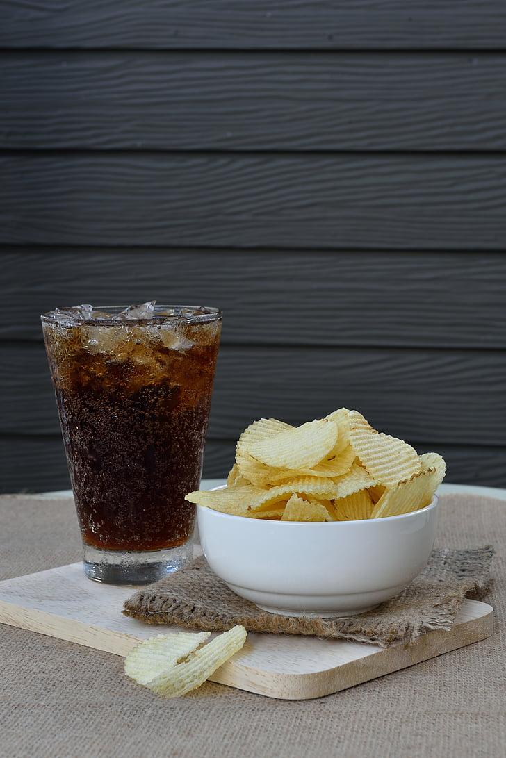 chip, Cola, cibo, patata, bere, tavolo, mangiare
