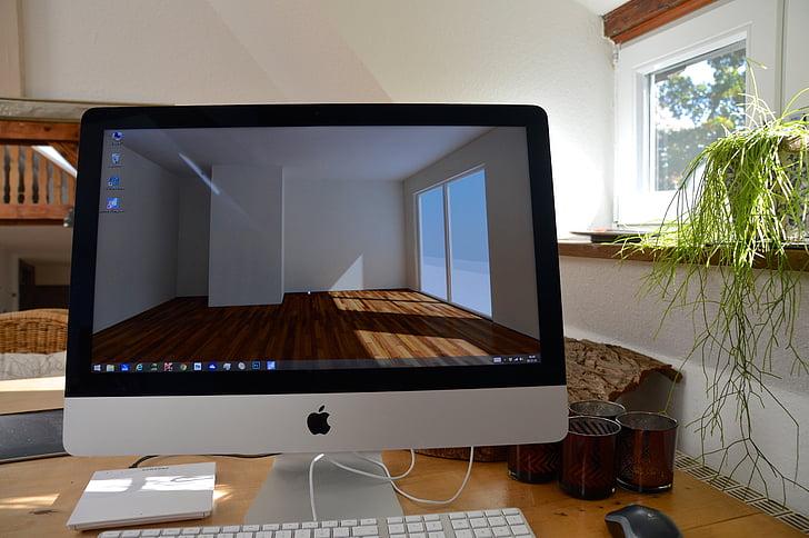 darbavietā, iMac, dators, darbvirsma, 3D, vizualizācijas, displeja