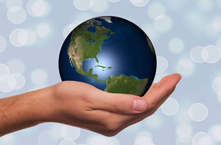 hand, houden, Globe, aarde, continenten, Verenigde Staten, Amerika