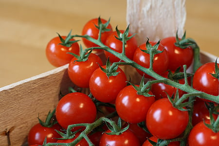 bedna, jídlo, čerstvá zelenina, rajčata, jídlo a pití, rajče, zdravé stravování