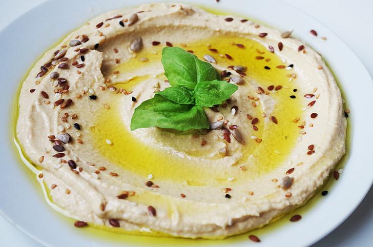 Hummus, måltid, kikærter, Indsæt, frø, korn, Luk-øst