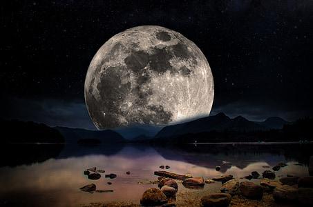 paisatge, nit, Lluna, cel, estrelles, Llac, l'aigua
