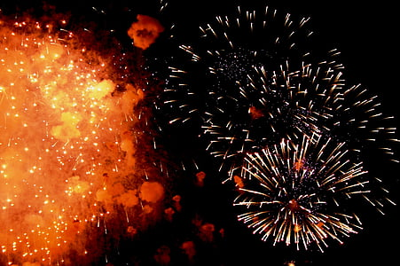 tűzijáték, fény, spray, pöttyöket, füst, Szele, fény tört