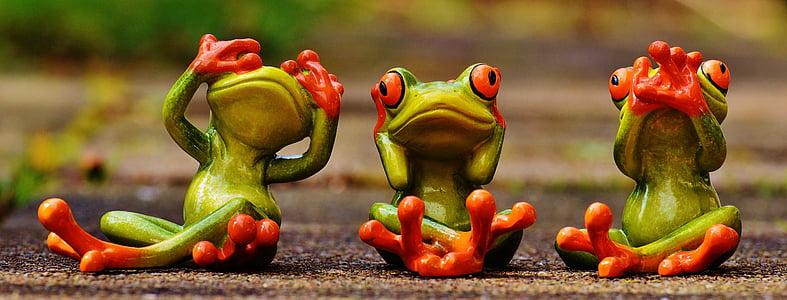 жаби, не виждам, не се чува, не говоря, Смешно, Сладък, фигури