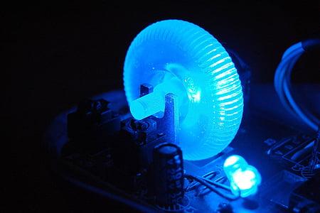 elektronikk, blå, lys, ledet, teknologi, datamaskiner, LED belysning