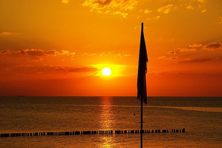 solnedgång, havet, landskap, naturen, sommar, solen, vatten