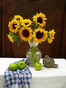 Slunečnice, jablka, Zátiší, ovoce, život, květ, kytice