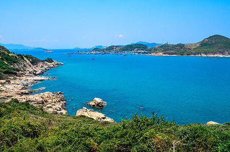 biển, màu xanh lá cây, màu xanh biển, Bãi biển, bờ biển, phong cảnh, đi du lịch