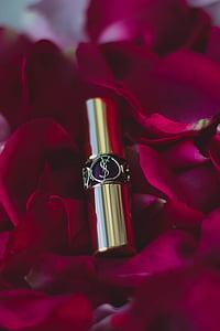 leppestift, skjønnhet, mote, sminke, samling, kosmetikk, petal
