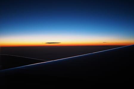 fosc, capvespre, horitzó, cel, Alba, posta de sol, avió