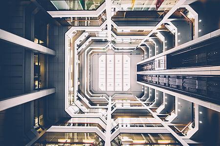 arhitektuur, hoone, kõrghoone, siseruumides, väike nurk shot, perspektiivi, kaasaegne