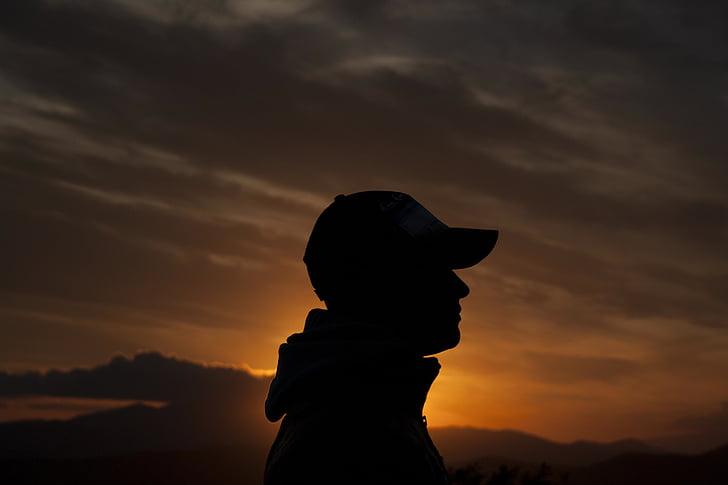vyro siluetas, vyras, siluetas, Horizontas, Saulėlydis, dangus, Saulė