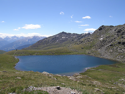 lake, mountain, mountains, landscape