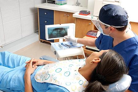 dentista, pacient, salut i medicina, dones, persones, metge, Clínica