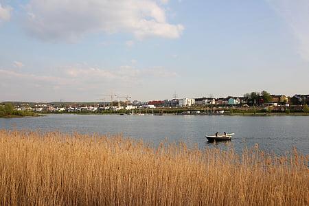 Llac, barca de rems, tranquil, l'aigua, bota, Banc, natura