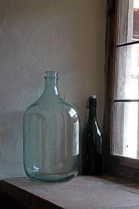 ampolla, ampolla de vidre, gran, ampit de finestra, ampolla de vi, déco, vell