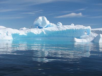 iceberg, calm, blue, ice, cold, floating, ocean