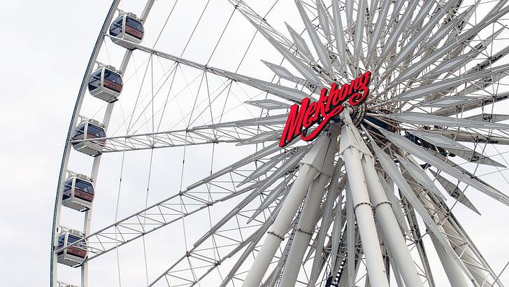 Parque de atracciones, emocionado, rueda de la fortuna, Turismo, el jugador, entretenimiento, disfrutar de
