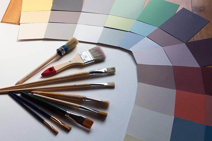 цвят модели, четка, дизайн, стена gestalter, тенденция цветове, Решение, интериорен дизайнер