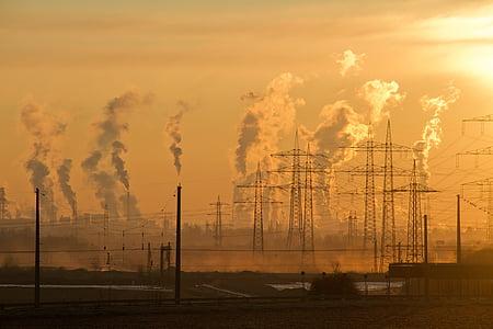 промисловість, Схід сонця, небо, повітря, забруднення, захист навколишнього середовища, дим