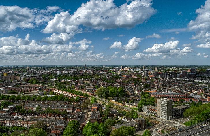 center, city, cloudy, groningen, netherlands, sky, skyline