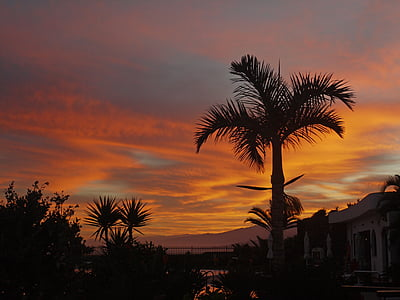 Alba, morgenrot, Palma, Tenerife, morgenstimmung, cel vermell, estat d'ànim